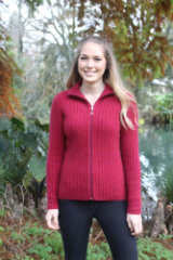 9821 Rib Zip Jumper Raspberry