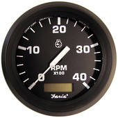 Tachometer with Hourmeter (4000 RPM) (Diesel) (Mech takeoff & var ratio alt) Black Faria