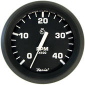 Tachometer (4000 RPM) (Diesel) (Mechanical takeoff & var ratio alt) Black Faria