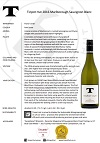 TPH Sauvignon Blanc 2016 bottle