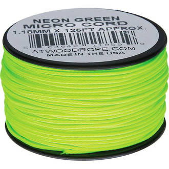 Atwood Rope Manufacturing Micro Cord, 125 ft Roll, Neon Green - 11855