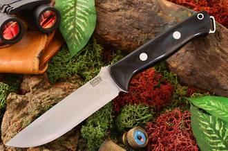 Bark River Bravo 1.25 Fixed Blade Knife, A-2 Tool Steel Canvas Micarta Handle, Black - 07-115M-BC