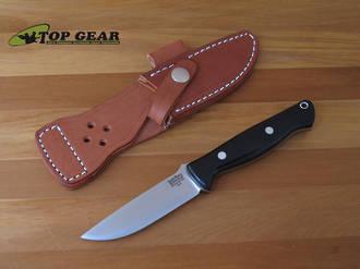 Bark River Bravo Gunny Knife, A-2 Tool Steel, Black Canvas Micarta Handle - 07-011M-BC