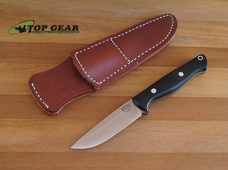 Bark River Gunny Hunter Knife, Black Linen Micarta Handle - Elmax Steel