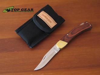 "Bear and Son 5"" Pro Lockback Knife, Rosewood Handle, Nylon Sheath - 299R"