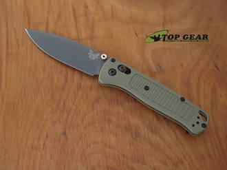 Benchmade Bugout Folding Knife, S30V Stainless Steel, Ranger Green Handle, Smoked Grey Chromium Nitride - 535GRY-1