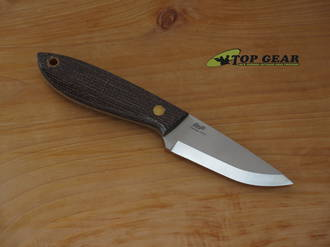 Brisa Bobtail 80 Fixed Blade Knife, Bison Micarta Handle, 12C27 Stainless Steel - 9954