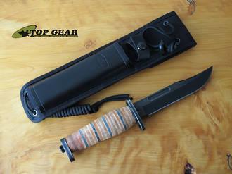 Buck Brahma Fixed Blade Hunting Knife - Leather Handle 119BRS1-B