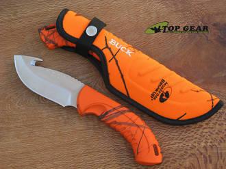 Buck Omni Hunter 12 Pt Guthook Knife, Blaze Orange Break Up - 393CMG-9B