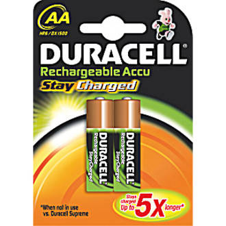 Duracell Stay Charged NiMH Rechargeable AA Lithium Batteries, 2-Pack - ACAABP2