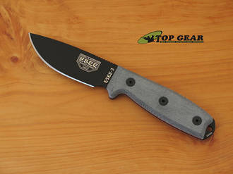Esee 3 Knife With Standard Pommel, Black, Knife Only - ESEE-3P-KO