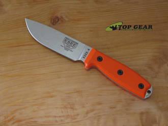 Esee 4 S35VN Stainless Steel Knife, Beadsblast Finish, Orange G10 Handle, Standard Pommel - ESEE-4P35V-OR
