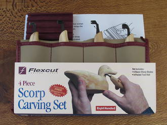 Flexcut Scorp Wood Carving Set, 4 Pieces with Tool Roll - KN150
