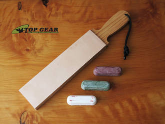"""Garos Goods 2"""" Double-Sided Leather Paddle Strop with Sharpening Compounds - GG2DSLSCOMP-RWG"""