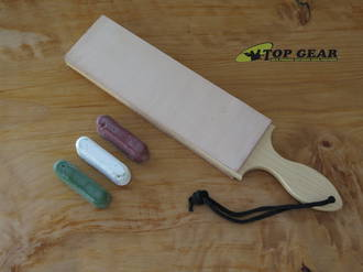 Garos Good 2.5 Inch Leather Paddle Strop with Sharpening Compound - GG2.5DSLSCOMP-RWG