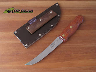 Victory Curved High Carbon Steel Boning Knife with Wood Handle,  Leather Sheath - 1/700/15/110