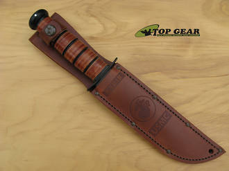 "Ka-Bar Brown Leather Replacement Sheath for 7"" Classic Ka-Bar with USMC Logo - 1217S"