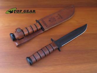 Ka-Bar US Army Fighting Knife with Leather Sheath - Fine or Serrated Edge