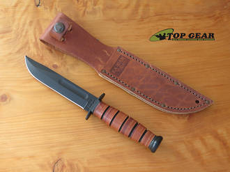 KA-Bar Short Clip-Point Fighting Knife, Straight Edge - 1251