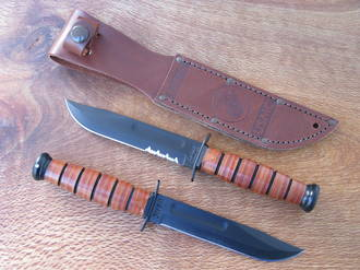 Ka-Bar United States Marine Corps 5 Inch Fighting Knife with Leather Handle - 1252 or 1250