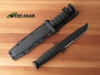 Ka-Bar Utility Knife, Black Kydex Sheath with Semi-Serrated Edge - 1214