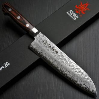Kanetsune Seki Hammered VG-10 Damascus Santoku Chef Knife, VG-10 Stainless Steel - 18.5 cm KC-903