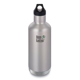 Klean Kanteen Classic Vacuum INSULATED Stainless Steel Bottle w Loop Cap, Brushed Stainless, 32 oz. - K32VCPPL-BS-A