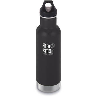 Klean Kanteen Classic Vacuum Insulated Stainless Steel Bottle with Loop Cap, Shale Black, 20 oz. (592 ml)
