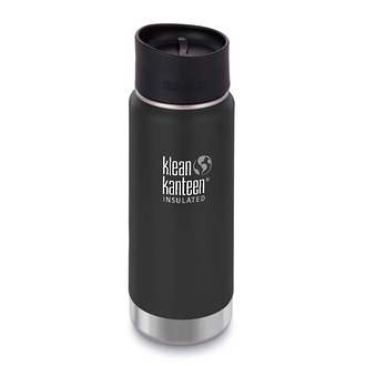 Klean Kanteen Wide Vacuum Insulated Stainless Steel Bottle with Cafe Cup 2.0, 16Oz, Shale Black - K16VWPCC-SB-A