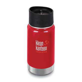 Klean Kanteen Wide Vacuum Insulated Stainless Steel Bottle with Cafe Cup 2.0 - 12 Oz. Mineral Red