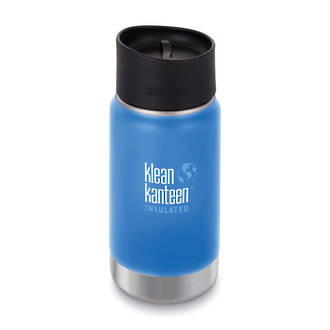Klean Kanteen Wide Vacuum Insulated Stainless Steel Bottle with Cafe Cup 2.0 - 12 Oz. Pacific Sky