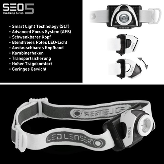 LED Lenser SEO5 LED Headlamp, 180 Lumens, Grey - 6105