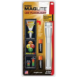 Maglite Mini Maglite 2AA LED Torch, Silver - SP2210HJ-77 Lumens