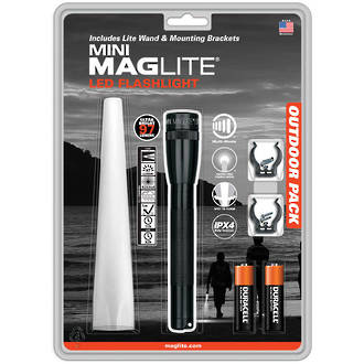 Maglite Mini Maglite 2AA LED Flashlight with Lite Wand and Mounting Brackets - SP22TQG