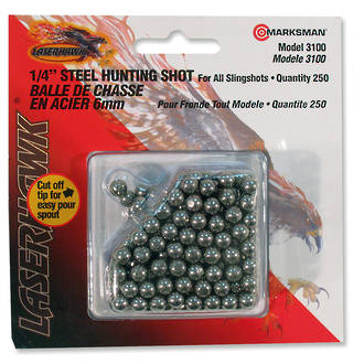 "Marksman 1/4"" - 6.5 mm Steel Hunting Shot for Slingshot, 250 Qty - 3100"