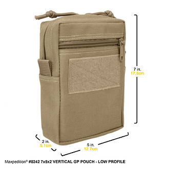 Maxpedition Vertical GP Low Profile Pouch, Khaki - 242K