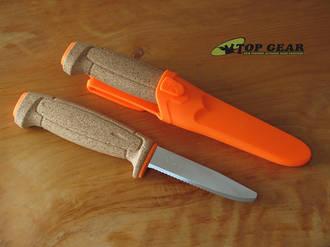 Mora Floating Serrated Stainless Steel Knife, Cork Handle, Orange Sheath - 020899
