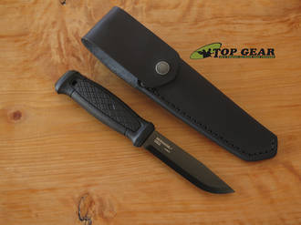 Mora Garberg Black Carbon Fixed Blade Knife with Leather Sheath, Black DLC Coating - 13100
