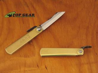 Nagao Higonokami Carbon Steel Mini Pocket Knife,Brass Handle - HIGO01