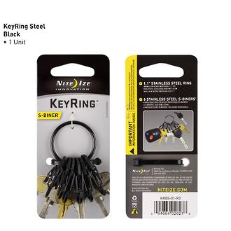 Nite Ize Stainless Steel S-Biner Keyring - KRGS-01-R3 Black or KRGS-11-R3 Stainless