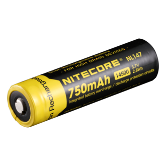 Nitecore 14500 - 750 mAH Rechargeable 3.7V Protected Li-On Button Top Battery NL147