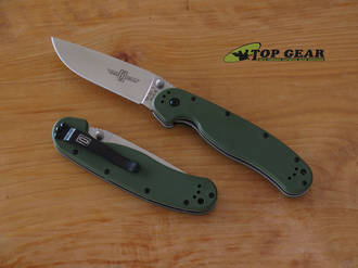 Ontario Knife Rat M1 Folding Knife, Fine Edge, Field Green - 8848FG