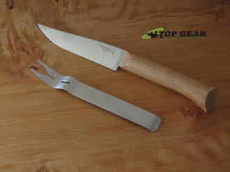 Opinel Cheese Knife and Fork Set, Stainless Steel, Beechwood Handle - OP018343