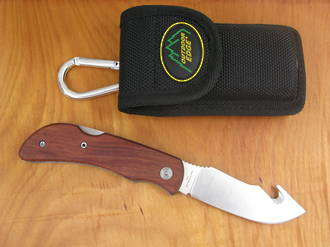 Outdoor Edge Pocket Gut-Hook Knife with Wood Handle - PH-20W or PH-20