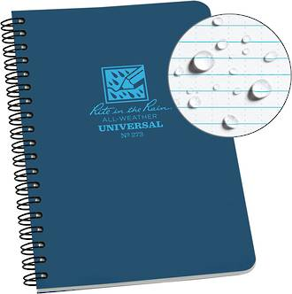 Rite in the Rain All-Weather Side Spiral Notebook, 4.625x7 Inches, Blue - 273