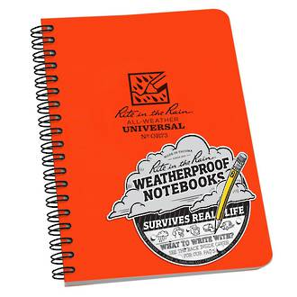 Rite in the Rain All-Weather Side Spiral Notebook, 4.625x7 Inches, Safety Blaze Orange - OR73