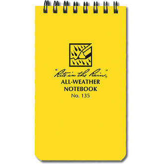 """Rite In The Rain All-Weather Top Spiral 3"""" x 5"""" Notebook - Yellow 135"""