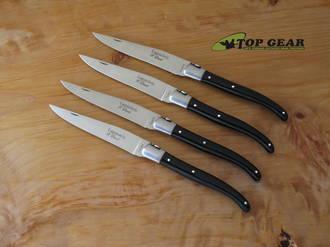 Robert David 4-Piece Steak Knife Set, Black Acrylic Handle - LTC02ACN