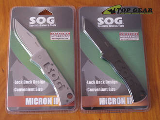 SOG Micron II Pocket Knife - Tanto or Clip-Point Blade