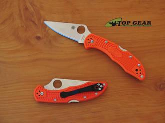 Spyderco Delica 4 Flat Ground Folding Knife, VG-10 Stainless Steel, Orange Handle - C11FPOR